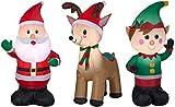Airblown Inflatable Outdoor Christmas Characters, 3 Piece Set, Santa Claus, Reindeer, Elf