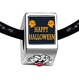 Chicforest Silver Plated Happy Halloween ghost Photo Red Zircon Crystal July Birthstone Flower Charm Beads Fits Pandora Bracelet