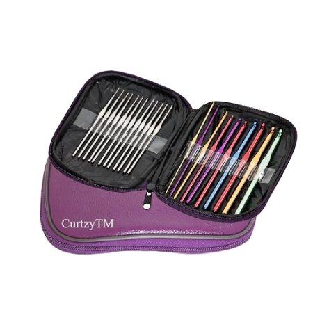 22 verschiedene Häkelnadeln Aluminium & Stahl Webnadel Set in einem lilafarbenen Koffer von Curtzy TM