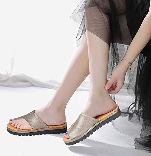 Amazon.com: hongxinyuan Orthopedic Bunion Corrector for Women Sandals PU Leather Shoes Soft Thick Bottom Big Toe Correction Beach Slippers: Home & Kitchen