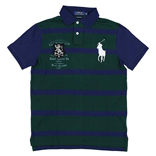 Polo Ralph Lauren Mens Rowing Club Patch Big Pony Custom Slim Fit Mesh Polo Shirt (XL, Green/Navy) ()