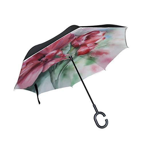 Double Layer Inverted Watercolour Painting Art Geranium Geraniums Bloom Umbrellas Reverse Folding Umbrella Windproof Uv Protection Big Straight Umbrella For Car Rain Outdoor With C-shaped Handle