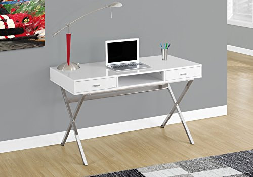 "Monarch I 7211 Chrome Metal Computer Desk, 48"", Glossy White"