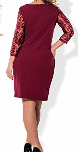 Women Lace Casual Comfy 5XL Plus Size Cocktail Dress 19 Sexy Solid Splice xwnHH6Rq