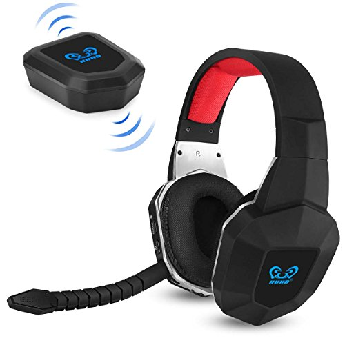 HUHD Wireless Stereo Gaming Headset 2.4GHz Optical Game Headphones with 7.1 Surround Sound for PS4 Xbox One PS3 Xbox 360 PC MAC Laptop Tablets Skype Detachable Microphone Rechargeable Battery]()