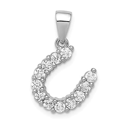 925 Sterling Silver Horseshoe Cubic Zirconia Cz Pendant Charm Necklace Good Luck Italian Horn Animal Horse Fine Jewelry Gifts For Women For Her