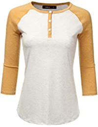 Casual Raglan 3/4 Sleeve Henley T-Shirt For Women With Plus Size