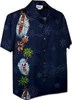 Pacific Legend Men's Santa and Snowflakes Christmas Hawaiian Shirt