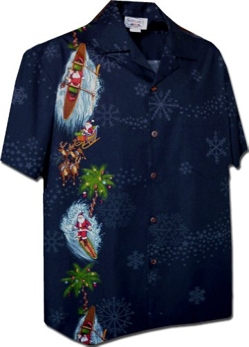 [해외]태평양 전설 남자 산타 및 눈송이 크리스마스 하와이 셔츠/Pacific Legend Men`s Santa and Snowflakes Christmas Hawaiian Shirt