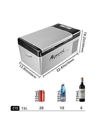Amazon.es: Alpicool C15 DC Frigorífico y congelador para coche, compresor, CC, 12 V, 24 V, 110 V, -20º C, coche y uso doméstico, 15 litros