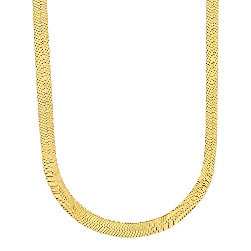The Bling Factory 4.5mm 14k Gold Plated Herringbone Chain Necklace, 20