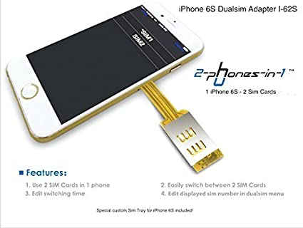 separation shoes 04063 3c46e Amazon.com : 2-phones-in-1® iPhone 6S Dualsim Card Adapter I-62S ...
