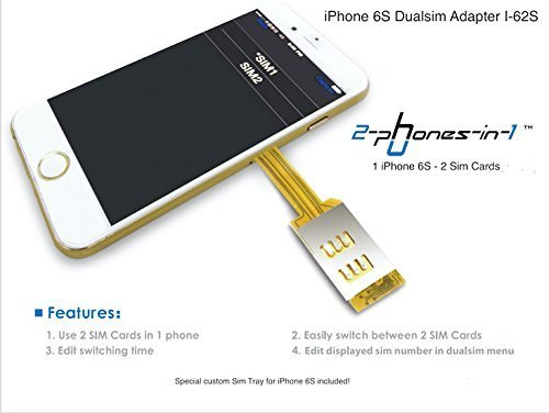 2-phones-in-1® iPhone 6S Dualsim Card Adapter I-62S incl. Case by