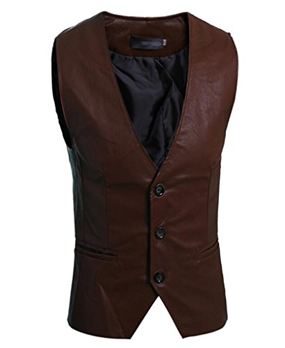 SoEnvy Men's Sleeveless Slim PU Leather Waistcoat Vest Jacket M Dark Brown Button Down Leather Coat