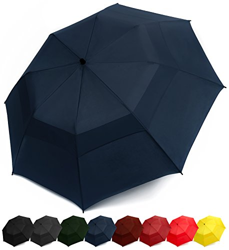 EEZ-Y Folding Golf Umbrella 58-inch Large Windproof Double Canopy - Auto Open, Sturdy and Portable (Navy Blue) Blue Open Umbrella