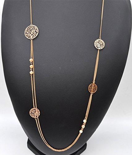 CL1237F - Sautoir Collier Double Fine Chaîne Perles et Cercles Ajourés Motif Arbre de Vie Métal Or Rose