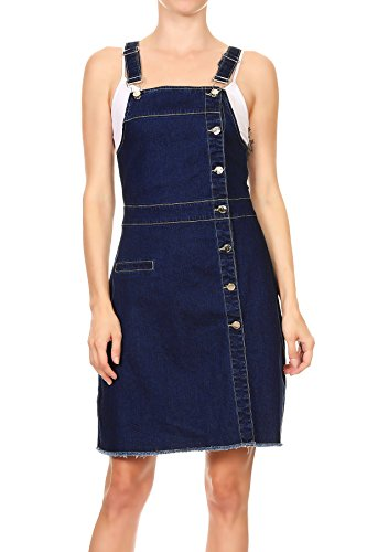 Overall Costumes Women (Anna-Kaci Womens Button Down Front Denim Adjustable Strap Overall Dress, Blue, Large)