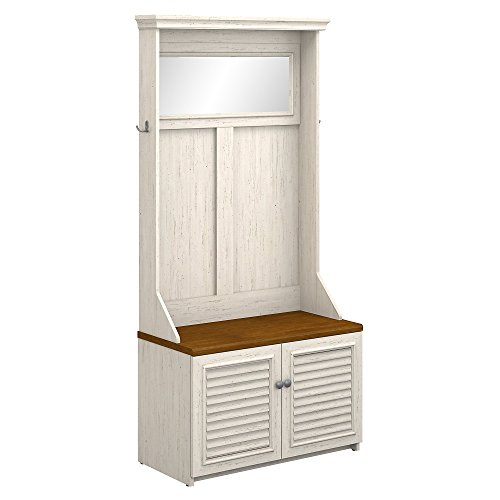 Bush Furniture Fairview Hall Tree with Storage Bench in Antique White and Tea Maple
