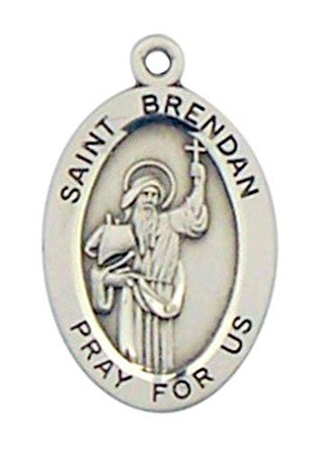 - HMHReligiousMfg Sterling Silver Patron Saint Brendan Oval Medal Pendant, 7/8 Inch