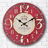 Buggy Round Decorative Wall Clock-Shabby Chic Floral Patchwork Clock - Vintage Wall Clocks for Living Room, Bedroom and Kitchen - Multi-Coloured Cute Retro Style Clock Wall ,20inches 50CM