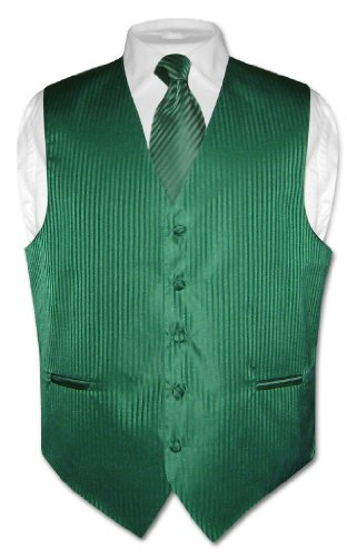 Men's Dress Vest NeckTie EMERALD GREEN Vertical Striped Design Neck Tie Set M -