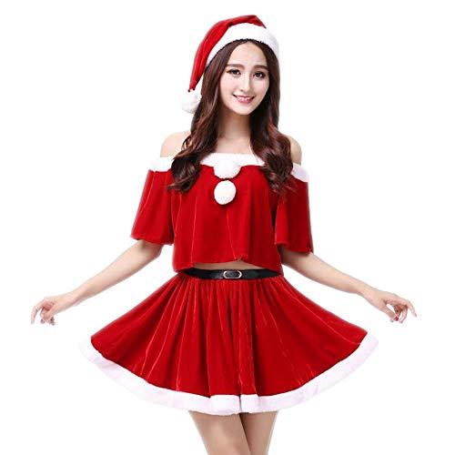 Christmas Costume Mrs. Santa Claus Velvet Ugly Santa Claus Dress(Red F(S-XL))