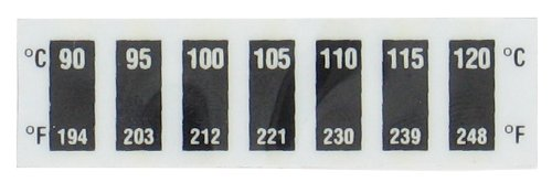Dwyer Reversible Temperature Strips, KS-0505, 194-248° F (90-120° C), 7 Level Horizontal, Pack of 10 Dwyer Instruments Inc.