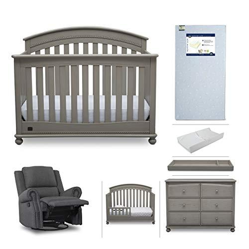 Baby Furniture Set – 7-Piece Nursery Furniture |Simmons Kids Aden | Convertible Crib, Dresser, Glider Recliner, Crib Mattress,Toddler Rail, Changing Top, Changing Pad, Storm Grey/Charcoal