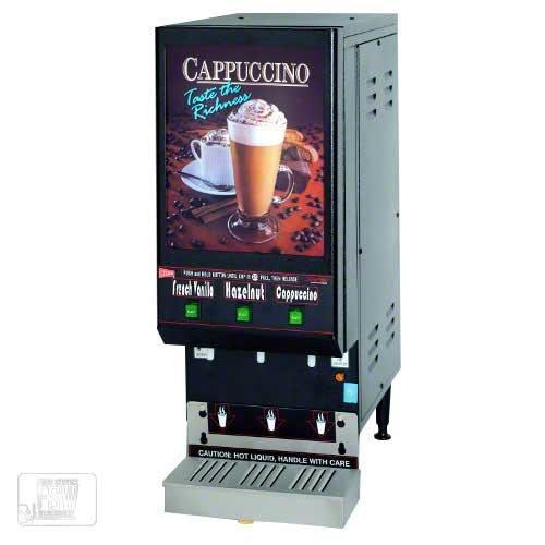 Cecilware (GB3LP-LD) - Three-Flavor Cappuccino Dispenser w/Lit Door - Low Profile Series