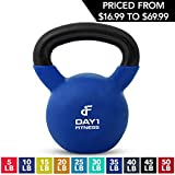 Kettlebell Weights Vinyl Coated Iron by Day 1 Fitness- 35 Pounds - Coated For Floor and Equipment Protection, Noise Reduction - Free Weights For Ballistic, Core, Weight Training