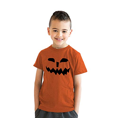 Youth Spikey Teeth Pumpkin Face Funny Fall Halloween Spooky T Shirt (Orange) - S