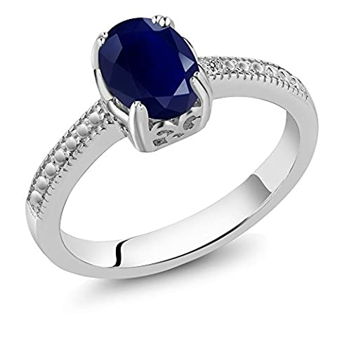 1.80 Ct Oval Blue Sapphire & White Diamond 925 Sterling Silver Engagement Ring (Available in size 5, 6, 7, 8, - Sterling Silver Diamond Antique Ring