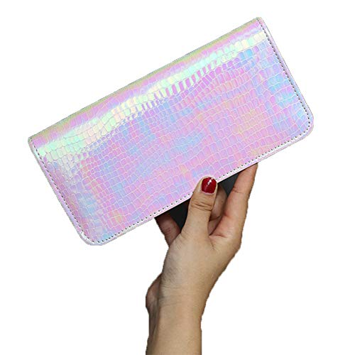 Pink Holder Wallet Womens Phone Purse Pouch Clutch Zipper Holographic Leather Card Laser Stylish Long Around Cell Hologram aagAq1