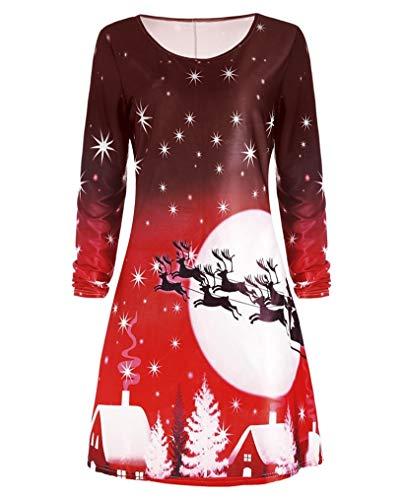 Seazoon Womens Christmas Dress Vintage Long Sleeve Santa Claus Pattern Print Plus Size Costume for Women SE36 127 Red XXL