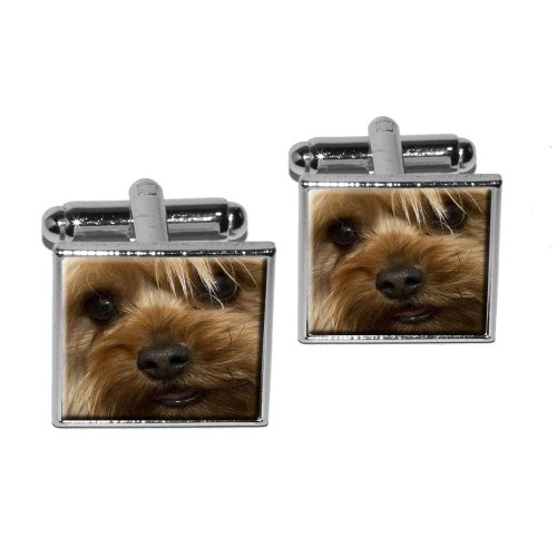 [Yorkshire Terrier Yorkie Dog Square Cufflink Set - Silver] (Yorkshire Terrier Jewelry)
