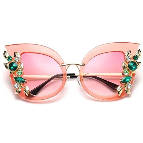 Price comparison product image Kanzd Womens Fashion Artificial Retro Diamond Cat Ear Metal Frame Brand Classic Sunglasses Laddy (B)