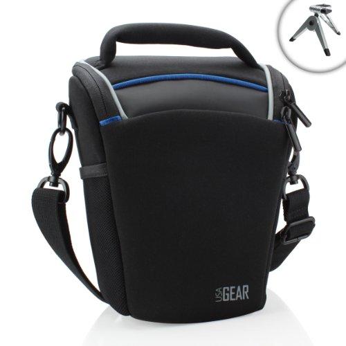 (USA Gear Top Loading Travel DSLR Camera Case Bag for Nikon Cameras with Adjustable Dividers and Padded Shoulder Strap - Compatible with Nikon D7500, D500, D7200 and More Digital SLR Cameras)