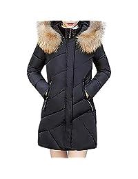 PENATE Women's Slim Winter Warm Down Jacket Casual Solid Plush Cotton Coat Parka