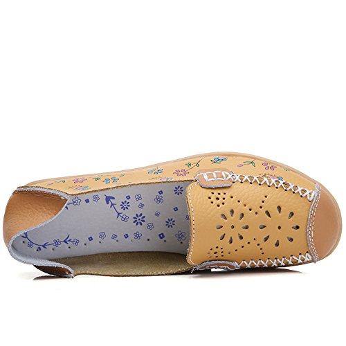 Joansam Femmes Couleur Vive Fleur Décontractée Imprimé Slip Sur Cuir Pompes Plates Chaussures Yellow2