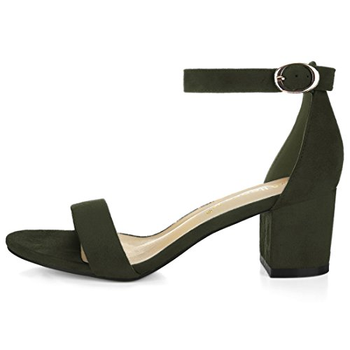 Block Green Heel faux Suede Ankle Allegra Sandals Army Strap K Womens 188TU