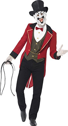 Smiffy's Men's Sinister Ringmaster Costume, Jacket, Mock Shirt, Mask and Top Hat, Cirque Sinister, Halloween, Size L, 44007