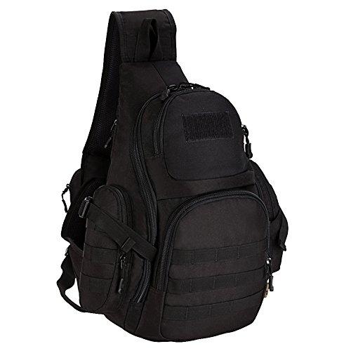 Beetest Unisex sling bolsa nylon impermeable al aire libre deporte bandolera pecho paquete de correr senderismo ciclismo escalada militar sling bandolera Negro