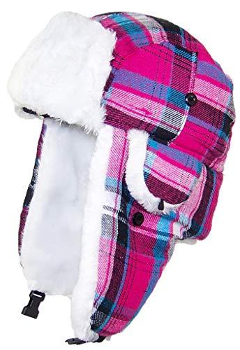 Best Winter Hats Big Kids Quality Madras Plaid Russian/Trapper Hat W/Faux Fur (One Size) - Pink