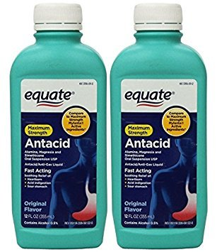 Antacid Strength Maximum (Equate - Antacid/Anti-Gas Liquid - Maximum Strength, Original Flavor, 12 fl oz, Pack of 2)