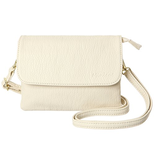MINICAT Women RFID Blocking Small Crossbody Bags Credit Card Slots Cell Phone Purse Wallet(Beige-Small)