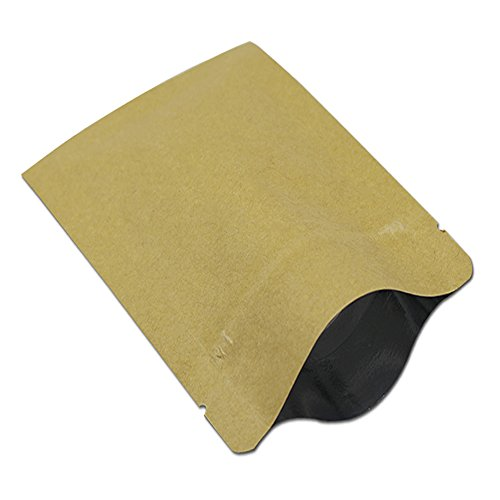 100Pcs 2.8x3.9 inch Zip Lock Reclosable Coffee Snack Food Packing Bag Kraft Paper Aluminum Foil Storage Pouch