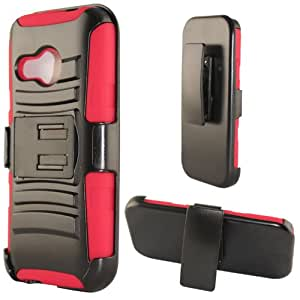 Cellphone Cover For HTC One Mini 2 - Heavy Duty Armor Style 2 Case w/ Holster - Red/Black AM2H