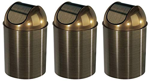 Umbra Mezzo Swing-Top Waste Can, 2.5-Gallon (10 L), Bronze (3-(Pack)) from Umbra