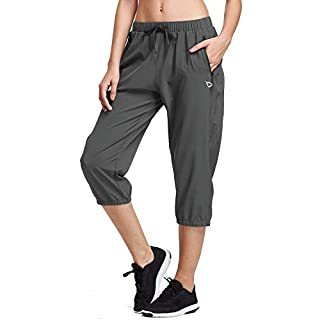 BALEAF Women Lightweight Capri Jogger Hiking Shorts Running Capri Pants Woven Quick Dry Pockets Grey Large