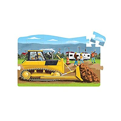 Melissa & Doug Construction 4-in-1 Jumbo Linking Jigsaw Floor Puzzle (96 pcs, 5 feet long): Toys & Games